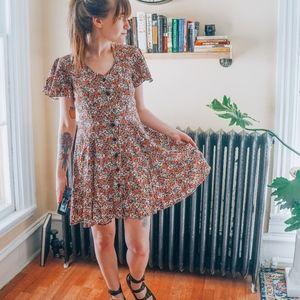 Vintage Floral Grunge fit flare button down dress